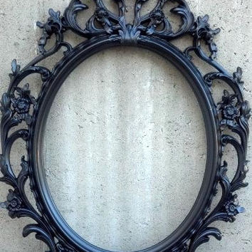 Black or White Vintage Style Frame Only Oval Round Shabby Chic Hanging Wall Ornate Mirror Halloween Choose Color