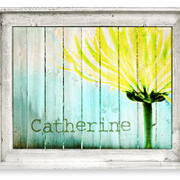 Kids Wall Art, Rustic Home Decor, Large Framed Wall Art, Yellow Flower, Picket Fence, Canvas Print,  Ready To Hang, Personalization Optional