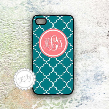 Teal patterns iphone case  monogrammed Iphone 4s cover custom Iphone4 cases