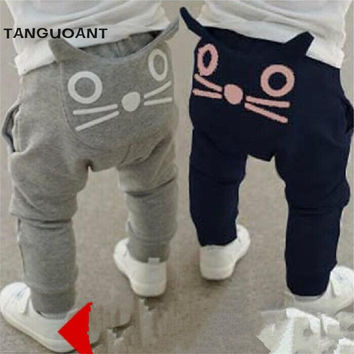 Retail new 2016 spring and autumn kids clothing boys girls harem pants cotton owl trousers baby pants