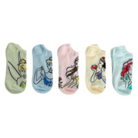 Disney Princess Sketch No-Show Socks 5 Pair