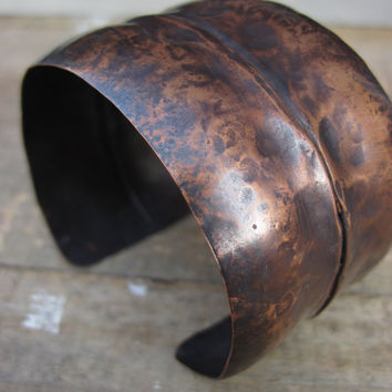 Distressed Copper Cuff- Wide fold formed highly textured copper cuff bracelet