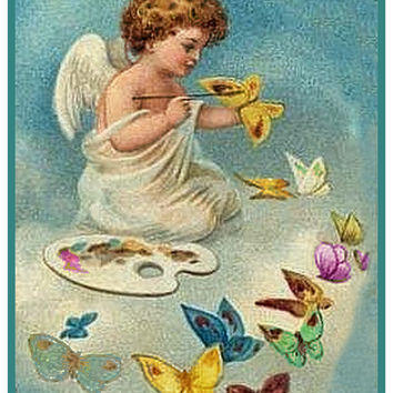 Vintage Easter Cherub Angel Painting Butterflies Counted Cross Stitch or Counted Needlepoint Pattern