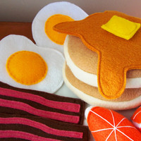 Felt Food Breakfast Eco Friendly Pretend Play Food Set for Childrens Toy Kitchen - Pancakes, Eggs, Bacon, Orange Slices, Butter, Syrup