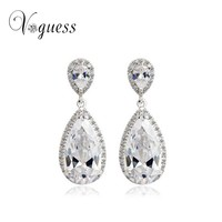 Elegant Teardrop Shape Cubic Zirconia Crystal Jewelry Bridal Wedding Earrings