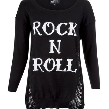 Pretty Attitude Women's Distressed Rock N Roll Sweater