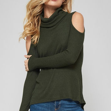 Turtle Neck Open Shoulder Sweater
