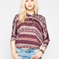 Full Tilt Ethnic Print Womens Dolman Crop Sweatshirt Burgundy  In Sizes