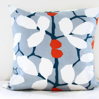 Blue leaf print cushion cover, blue and orange pillow cover, modern print cushion, British designer Romo linen fabric, handmade in the UK
