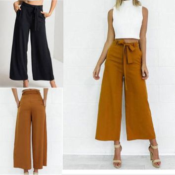 Fashion Womens Palazzo Pants Culottes Loose High Waist Wide Solid Leg Long Trousers Solid Summer Autumn