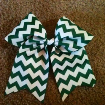 "Big 3"" Cheer Bow Forest Green White Chevron Cheerleading Practice Hair Bow for Cheerleader also Great for Softball Dance"