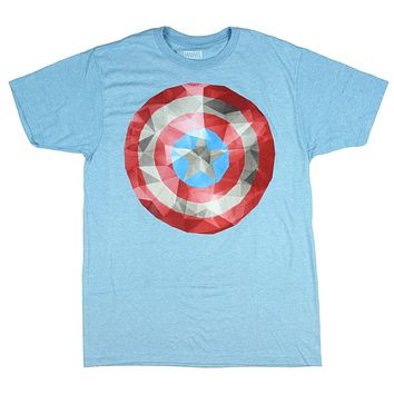 Marvel Universe Captain America Diamond Affect Shield Design Men's T-Shirt
