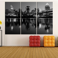 Cincinnati ohio wall art canvas Print, Cincinnati skyline canvas wall art photo print, extra large canvas wall art, black and white art a71d
