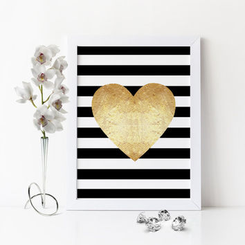 PRINTABLE Art,Gold Heart Art Print,Bedroom Decor,Office Wall Art,Gold Foil,Gold Faux Print,Black And Gold,Gold Heart Print,Gift Idea,Heart