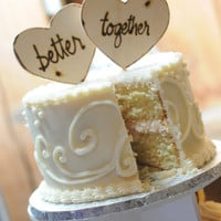 Wood Heart Cake Toppers Personalized Better Together Photo Props for Rustic Chic Wedding Anniversary Engagement Party Decorations