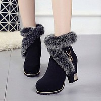 Pointed Toe Fur Decoration Middle Chunky Heel Short Boots