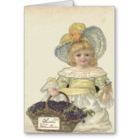 Vintage Valentines Girl with Flowers Greeting Card