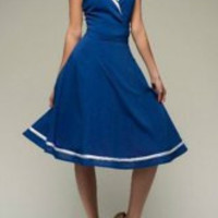 Blue Turn-Down Collar Sleeveless Dress