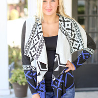 Move Mountains Cardigan - Blue and Black