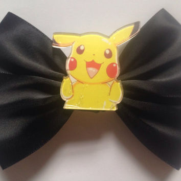 Black Pikachu Hair Bow Pokemon Go Goth Gothic Kawaii Harajuku