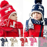 Hot SALE 2014 Winter Sweet Girls Boys Hats Children's Hat Deer Velvet Earlap Caps Babies Sets Christmas Beanie = 1946398404
