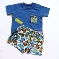 Baby Monkey Shorts t-shirt, 6-9 months, lime green, blue