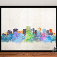 Virginia Skyline Watercolor Poster, Richmond Print, Cityscape, City Painting, States, Illustration Art Paint, Giclee Wall, Home Decor