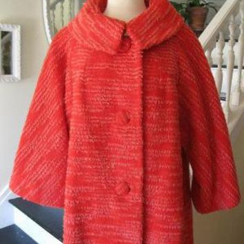 Vintage red with white stripes wool coat by SunnyDayDiggs on Etsy