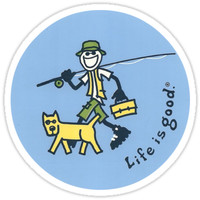 'Life is Good - Man and Dog' Sticker by Michael Watts