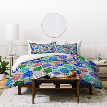 Bianca Green Roses Blue Duvet Cover