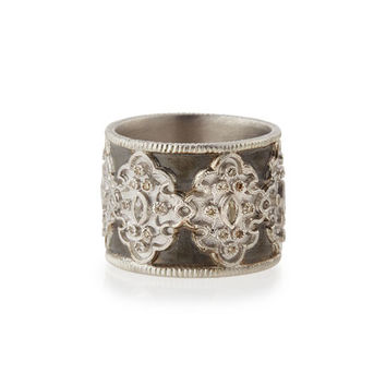Armenta New World Midnight Wide Scroll Band with Diamonds, Size 7