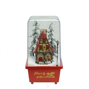 "11.5"" Lighted Musical Snowing House Christmas Table Top Snow Dome"
