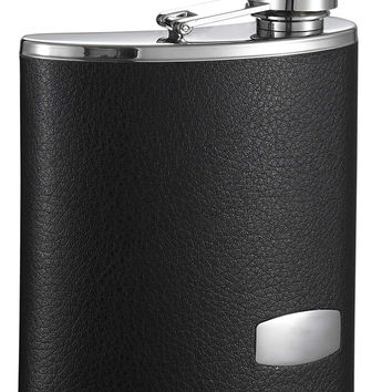 Visol Zen Black Leather Stainless Steel Wide Mouth Flask - 6 oz