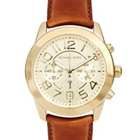 Michael Kors Tan Leather Strap Watch With Gold Chronograph Face at asos.com