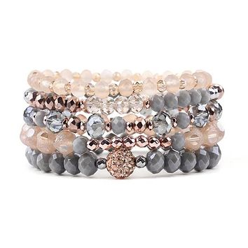 Silver Blush Beaded Bracelet Stack