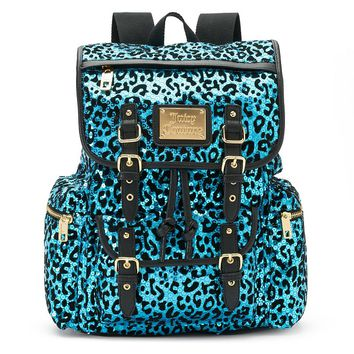 Juicy Couture Burnout Sequin Leopard Backpack (Blue)