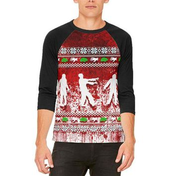 ONETOW Ugly Christmas Sweater Bloody Zombie Attack Survivor Mens Raglan T Shirt