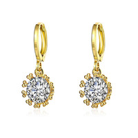 Gold Plated Crystal Jewel Clip-On Earrings