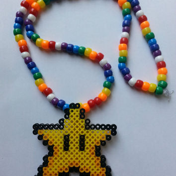 Super Mario World Star Kandi Necklace/kandi necklace/rave/