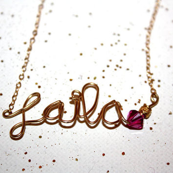 mina - custom gold name necklace by lilla stjarna - gifts under 75 - personalized 14k gold fill - childrens name necklace - Mother's Day