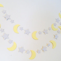 I Love you to the Moon and back decorations - 10ft Gray & Yellow Moon Stars Garland - Baby Shower Decor- Nursery Decor -Twinkle Little Star