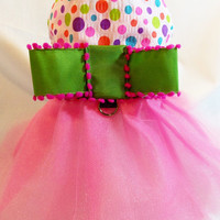 Spring Easter Pink and Lime Polkadot Tutu Dress for Dogs or Cats