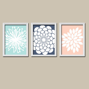 Aqua Navy Blue Peach Flower Burst Dahlia Bloom Petals Artwork Set of 3 Trio Prints Wall Decor Abstract Art Picture Silhouette