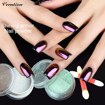 Verntion Gel Hybrid Nail Polish Gold Sequins Powder Acrylic Gel Color Lucky Leiguang Holographic Pigment 3d Glitter Nail Art