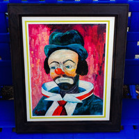 Original Vintage Outsider Art  60's Clown Portrait kitsch