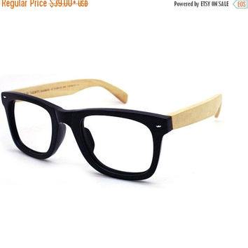 TAKE MJX1302 wayfarer handmade  acetate frame with bamboo arm glasses with prescription  lenses