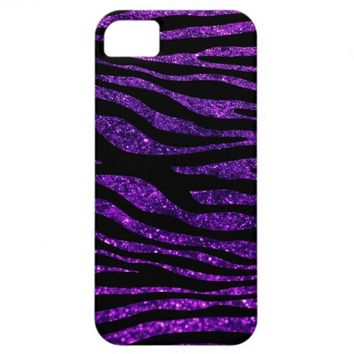 Animal Print Skin Zebra Shiny Glitter Black Purple iPhone 5 Cases from Zazzle.com