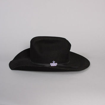 Rare 80s Dallas COWBOYS Western HAT / Black Wool STETSON