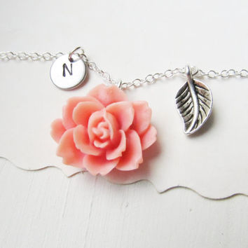 Wedding Initial Hand Stamped Floral Necklace Monogrammed Stamped Charm Necklace Antique Silver