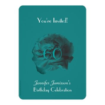 60th Birthday Party Invitation Teal Rose